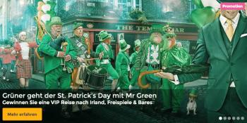 Im Mr Green Casino kann man eine VIP-Reise nach Dublin gewinnen